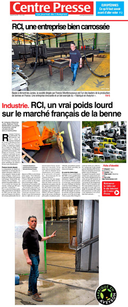 couverture magazine CR- Article double page bennes RCI